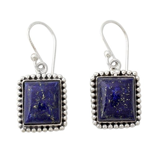 NOVICA Lapis Lazuli .925 Sterling Silver Rectangular Dangle Earrings 'Good Will -