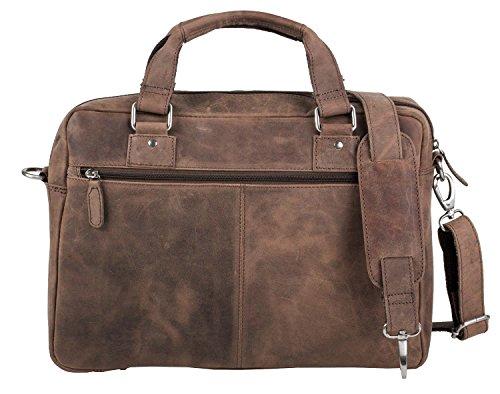 Laptoptasche Umhängetasche Notebooktasche Businesstasche Aktentasche Leder Büffel Vintage braun Laptop 14 Zoll - 14,5 Zoll stonebear original
