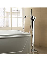 chrome finished tub filler floor standing bathtub faucet waterfall widespread pullout spray handshower included