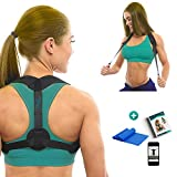 DaviSMART Posture Corrector for Women, Men and Kids ✮ Front Adjustable Clavicle Support Brace Under Clothes ✮ Improve Bad Posture Body ✮ Upper Back Pain Relief Device + Exercise Band Bonus