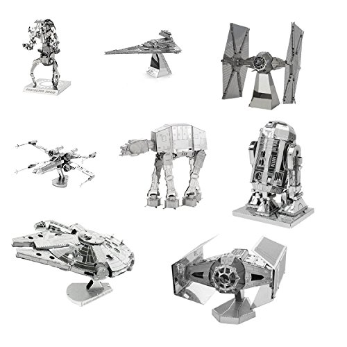 (Metal Earth 3D Model Kits - Star Wars Complete Set of 8 - X-Wing - Destroyer Droid - Imperial Star Destroyer - TIE Fighter - R2-D2 - AT-AT - Millenium Falcon - Darth Vader's TIE Fighter)