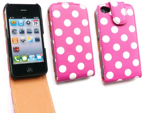 Emartbuy Value Pack Für Apple Iphone 4 4G 4Gs 4S Luxury Hd Flip Case / Cover / Pouch Polka Dots Pink + Kompatibel Kfz-Ladegerät + Lcd Screen Protector