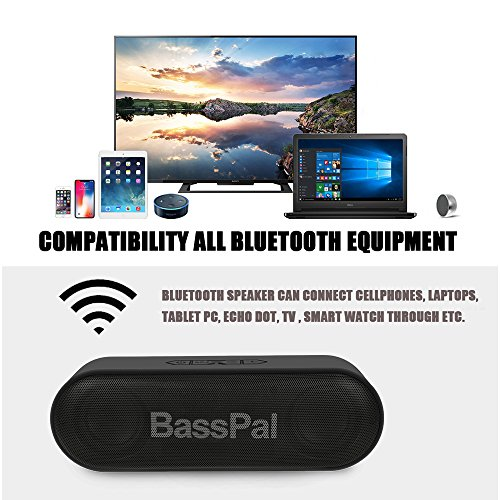 BassPal SoundRo Portable Bluetooth Speaker, 12W Wireless Speaker Lound Stereo Sound, Rich Bass, TF Card Slot, 24-Hour Playtime, 66 ft Bluetooth Range & Built-in Mic Outdoor Home Party Travel Speakers by BassPal (Image #2)