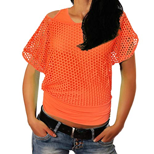 Smile fish Women Casual Sexy 80s Costumes Fishnet Neon Off Shoulder T-Shirt (Orange,XS) ()