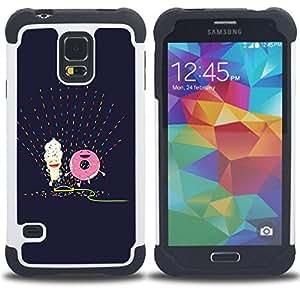 "Hypernova Híbrido Heavy Duty armadura cubierta silicona prueba golpes Funda caso resistente Para SAMSUNG Galaxy S5 V / i9600 / SM-G900 [Buñuelo feliz púrpura del dibujo del arte""]"