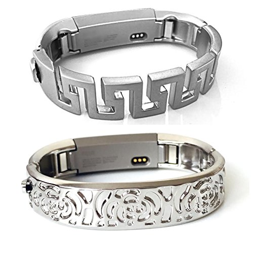 Small Greek Key (BSI Set 2 Silver Metal Bands For Fitbit Alta And Alta HR Activity Tracker Small Size Flowers Design And Greek Key Design)