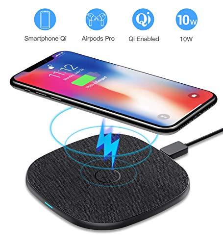 10 W Cargador Inalámbrico Rápido, AGPTEK Qi Wireless Charger 10W/7.5W/5W para iPhone 8/X/XS/XR/11/11Pro, Galaxy S10/S10…