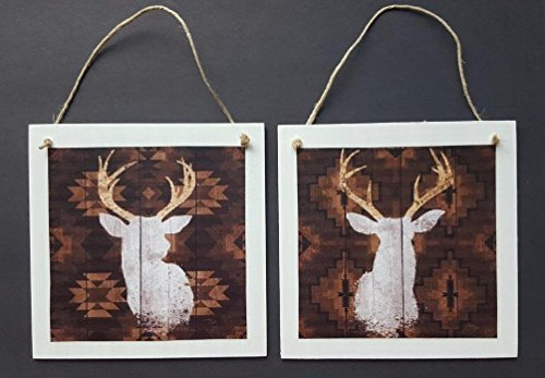 - Lodge Cabin White Silhouette Deer Buck Wall Hang Decor Art Hangs set of 2