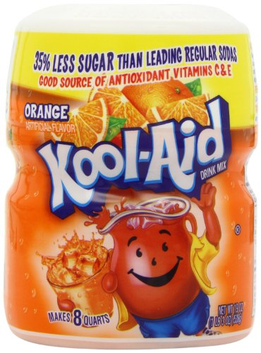 Kool-Aid Drink Mix, Sugar Sweetened Orange, 19-Ounce Container (Pack of 4)