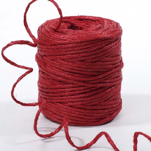 """1/8"""" Inch Wide Ecofriendly Red 3 Ply Coated Jute Twine for Decorating Weddings and Natural Themed Events"""