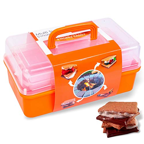 SUMPRI Smores Caddy with Two Folding Trays -Keep Your Marshmallow Roasting Sticks, Crackers & Chocolate Bars All in The Same Place -Fire Pit Accessories, Campfire Smores Skewers Storage Box (Orange)