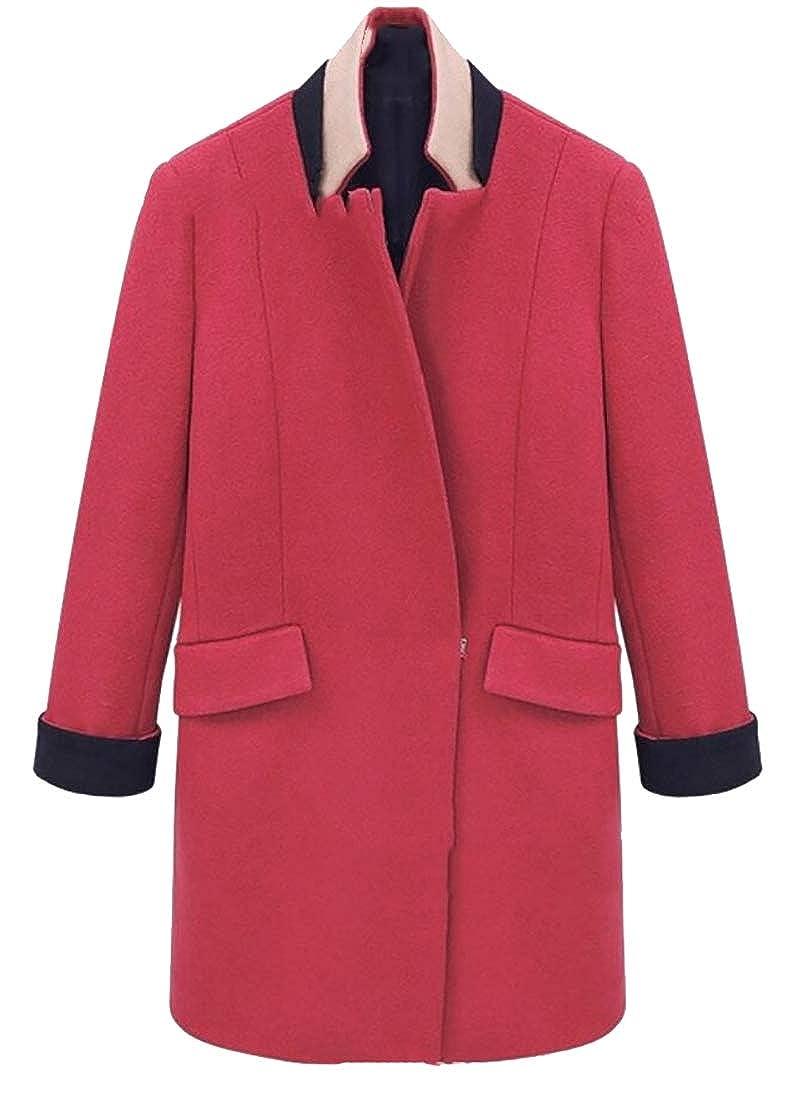 M/&S/&W Womens Long Sleeve Lapel Pea Coat Warm Overcoat Trench Coat with Pocket