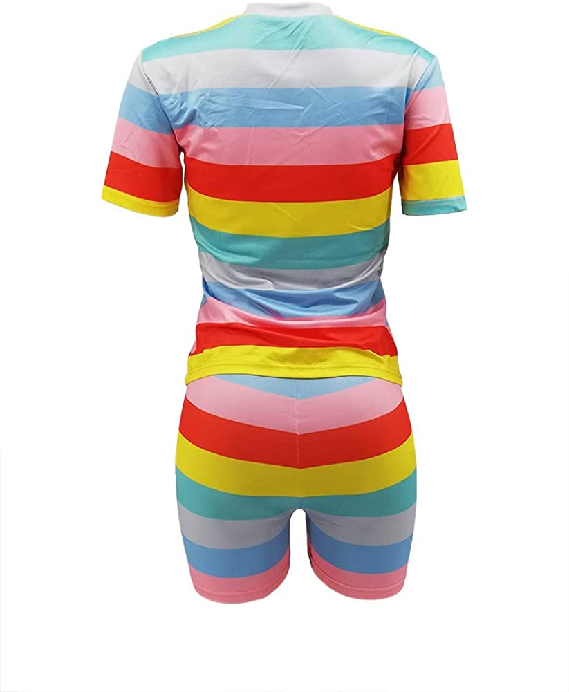 Womens 2 Piece Rainbow Striped Outfits Round Neck Short Sleeve T-Shirt Tops Shorts Set Jumpsuit