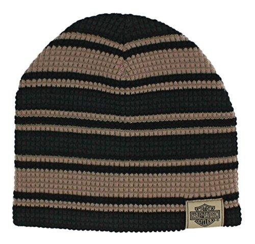 Harley-Davidson Men's Striped H-D Embroidered Knit Beanie Hat Black, Tan KN24203
