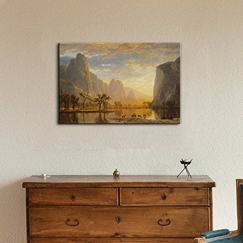 Valley of The Yosemite by Albert Bierstadt Print Famous Painting Reproduction