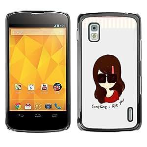 - Cartoon Girl Cute - - Fashion Dream Catcher Design Hard Plastic Protective Case Cover FOR LG Nexus 4 E960 Retro Candy