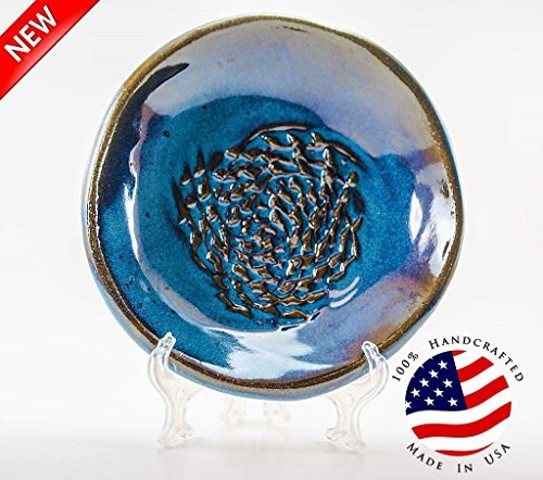 Plate Grating (USA HANDMADE Garlic Grater set from- CAprimeproducts - Deep Blue Glaze with Garlic Peeler, Kitchen Brush, and BONUS Display Stand!)