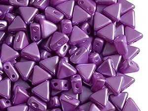 50 piezas Kheops Par cuentas de Puca - pulsar para Checa cuentas de cristal de forma triangular, con dos orificios, 6 mm, Lila Pastel