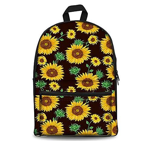88683eebf61f Amazon.com   PrelerDIY Black Sunflower Kids Backpack Back to School ...