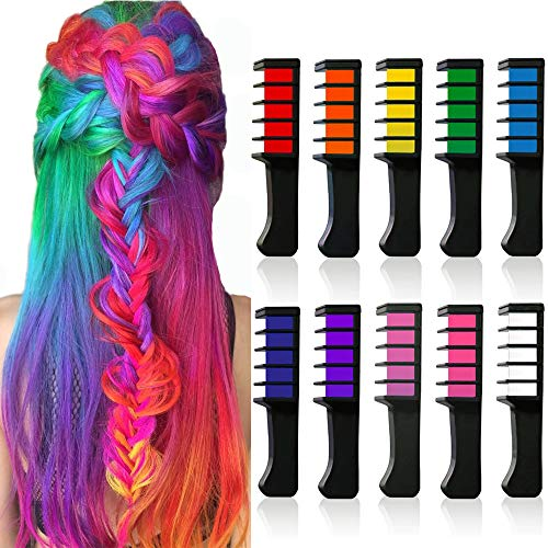 10 Color Temporary Bright Hair Chalk Set, Kalolary Metallic Glitter Hair Chalks Birthday Girls Gift, Hair Chalk Comb Set Washable Color for Kids Hair Dyeing Party, Cosplay]()
