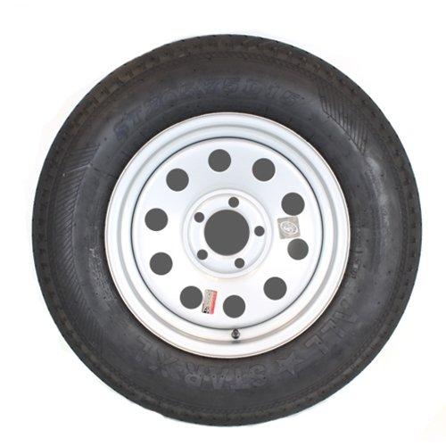 15'' x 5'' Silver Modular Trailer Wheel With Bias Allstar XL ST20575D15C Tire Mounted (5-4.5'' Bolt Circle) by SWW 15