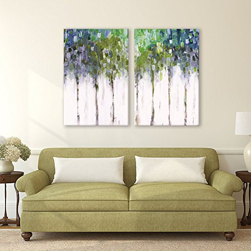 "wall26-2 Piece Canvas Wall Art - Abstract Trees - Modern Home Decor Stretched and Framed Ready to Hang - 16""x24""x2 Panels"