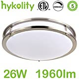 Hykolity 16 Inch LED Ceiling Light, 26W [200W Equivalent] 1960Lm 4000K BN Finish Dimmable Saturn Flushmount Ceiling Light for Bedroom, Restroom, Walk In Closet, Washroom, Living Room
