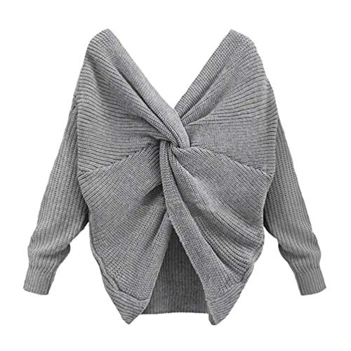 Fashion Pull Nu Classique Tricot Tricot Longues Dos Automne El Hiver Pullover Casual Manches Cou V Large Femme nxwwpzH0q6