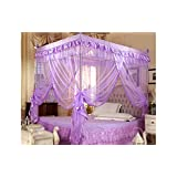 Violet Valentine's 4 Corners Lace Bed Curtain Canopy Mosquito Netting (Twin)