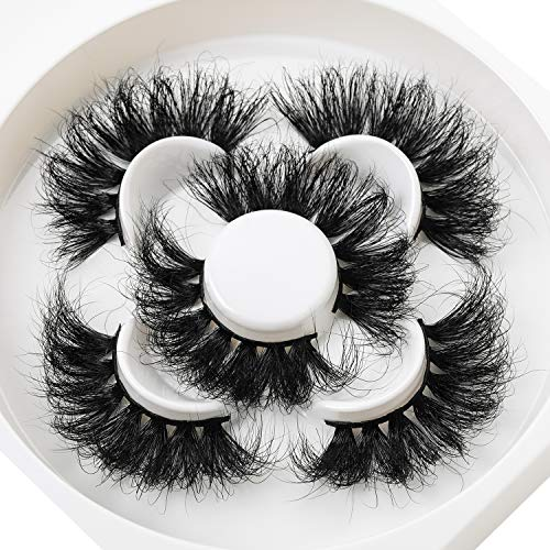 25mm Mink lashes 3D False Eyelashes Dramatic Long Thick Cross Lashes 100% Siberian Mink Fur Cruelty-Free Fluffy Fake Eyelashes … …