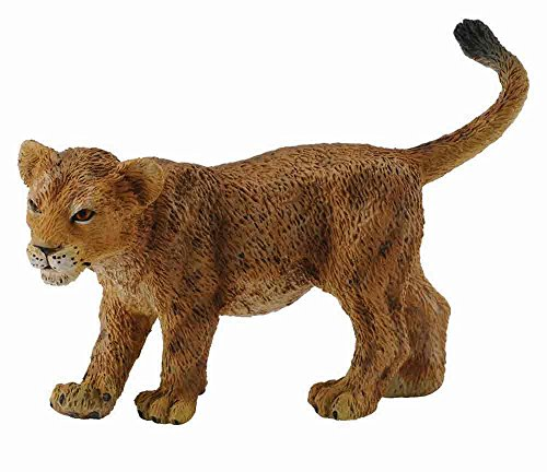 CollectA Wildlife Lion Cub (Walking) Miniature Toy Figure - Authentic Hand Painted Model - Lion Cub Figurine