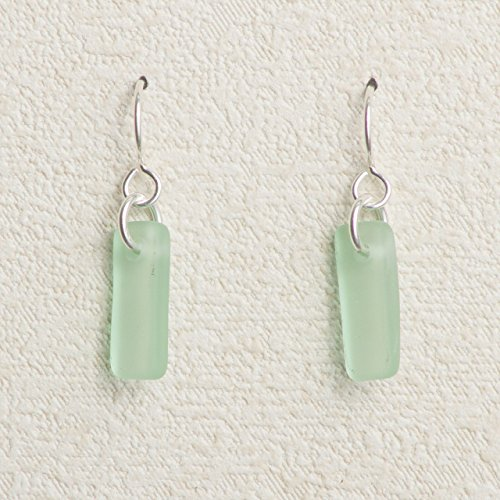 Sea Glass Murmur Earrings, with Seafoam Glass