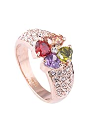 Acefeel Multicolor Four Clover Pave Small Zircon Promise Engagement Wedding Ring