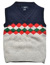 Betusline Baby Boy Girl School Uniform Cable Knit Sweater Vest Grey 6 Years