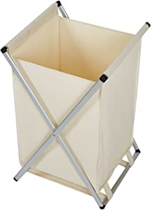 Dporticus Foldable Laundry Hamper Made of Oxford and Aluminum X Frame(Beige