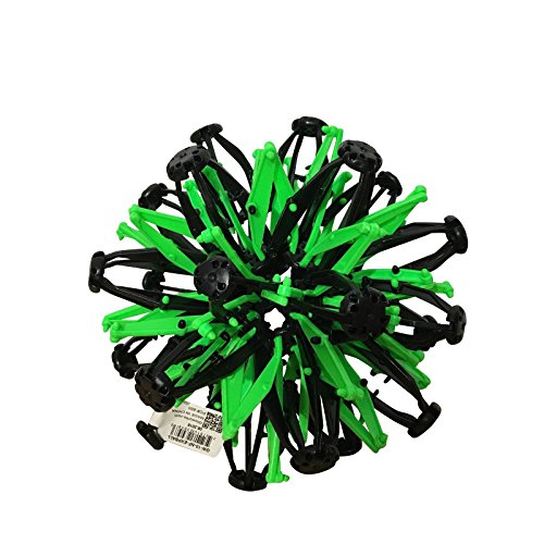 QuStars Gloworks Expandable Sphere Transforming Mini Ball Toy - Black & Neon Green