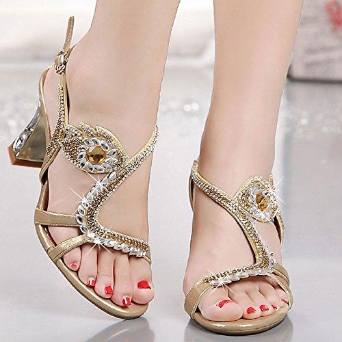Diamantes y Gruesos Perforación Dedos los Tacones de Transpirable los Tacones pies Agua Sandalias 40 de AJUNR Elegante Moda qwXAKPv