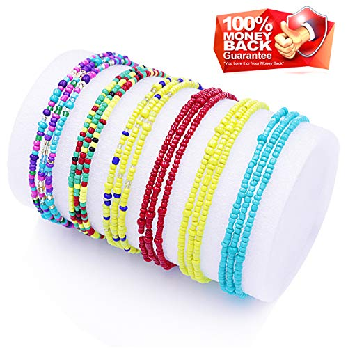 Waist Beads for Women Body Chains African Waist Beads Jewelry Belly Chains Bikini Chain Jewelry Stretchy Elastic String Multi-Color Necklace Bracelet Anklet ()