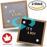 Reversible Felt Letter Board Word Sign 10 x 10 inches with Oak Stand 700 Changeable Gold and White Letters Wall Mount Hanger 2 String Bags and a Scissor (Double Sided Black/Grey)