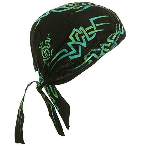 Black Doo Rag with Green Tribal Bandana Headwrap Motorcycle Biker Skull ()