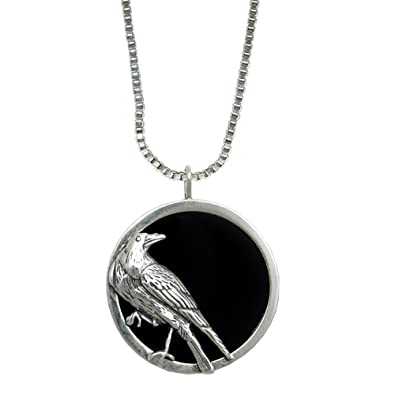 Amazon a striking sterling silver scrying pendant featuring the a striking sterling silver scrying pendant featuring the raven made in america aloadofball Image collections