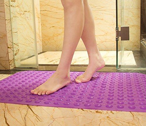 ModestLuxury Bathtub Mat Non Slip Bath Shower Mat with Massage Ball Anti-Bacterial BPA Phthalate Free Unscented Health Soft Comfortable for Bathroom, Machine Washable, 28'' X 14'' (Purple)