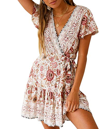 Womens V Neck Bohemian Floral Vintage Printed Ethnic Style Ruffle Swing Hem Split Wrap A Line Beach Short Sleeves Mini Dress (US 16-18 (Tag XL), Glamour Beige)