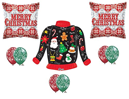 New!!! UGLY CHRISTMAS SWEATER Party Balloons Decoration Supplies 9 pieces (Ugly Christmas Sweater Party Decorations)