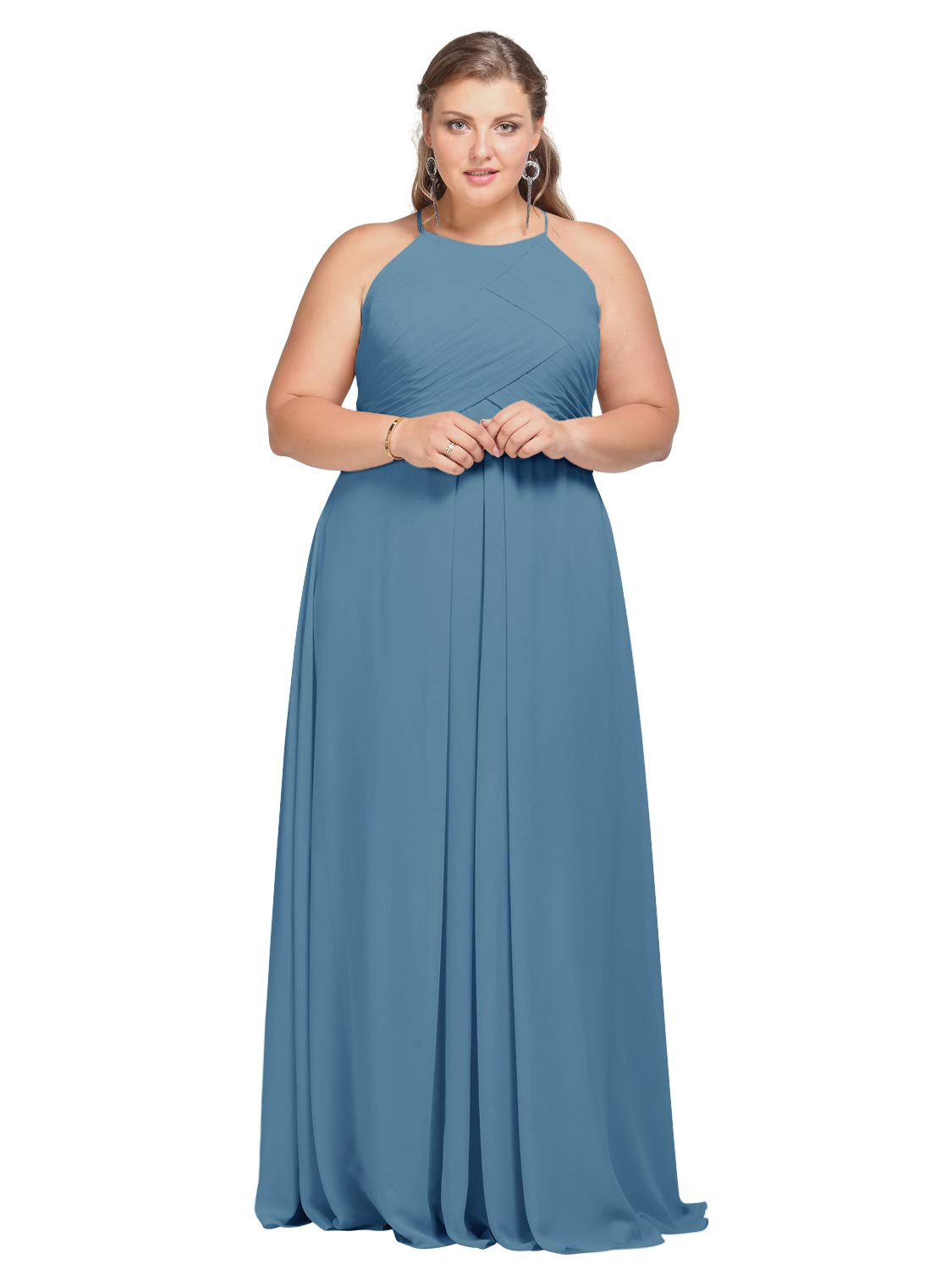9a86baa3fc830 AW Chiffon Bridesmaid Dress for Women Evening Gowns Long Formal Prom  Dresses, Dusty Blue, US14