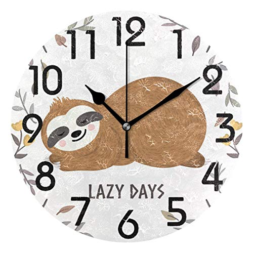 - Dozili Cute Baby Sloth Sleeping Among Flowers and Leaves Round Wall Clock Arabic Numerals Design Non Ticking Wall Clock Large for Bedrooms,Living Room,Bathroom