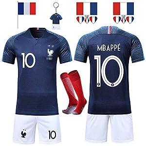 RONGLI Maillots de Football T-Shirt 2 Étoiles Vêtements de Football avec Chaussettes et Accessoires Chemise de Football…