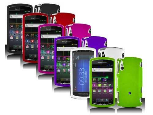 6in1 Combo Color Rubberized Hard Snap-on Protector Shell Case Face Plate Cover For Sony Ericsson Xperia Play R800 (Case Ericsson Sony Phone)