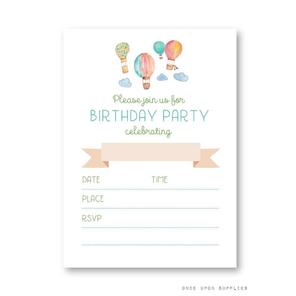 Amazon.com: Hot Air Balloon Birthday Party Invitations, Featuring ...