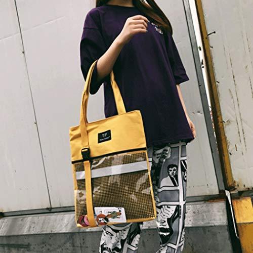de Amarillo lona moda Bolsos de Bolso portable Bolsos Bolso ocio hombro Color de señora de tejido Blanco de Paquete de Crossbody Bolso femeninos GJ w4qgFF